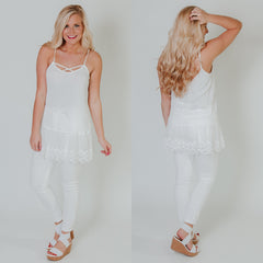 *NEW* Criss Cross Cami Tunic Top ~ White - ShopBeYouBoutique