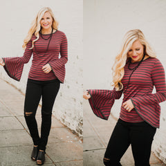 *NEW* Lacey Bell Sleeved Stripe Top ~ Burgundy/Charcoal