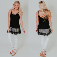 *NEW* Criss Cross Cami Tunic Top ~ Black - ShopBeYouBoutique