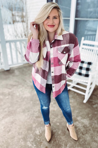 *NEW* Charlie Pink Plaid Shacket