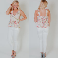 *NEW* Simply Sweet Floral Top ~ Beige - ShopBeYouBoutique