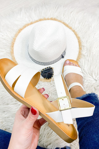 Coast White Strap Side Buckle Sandal