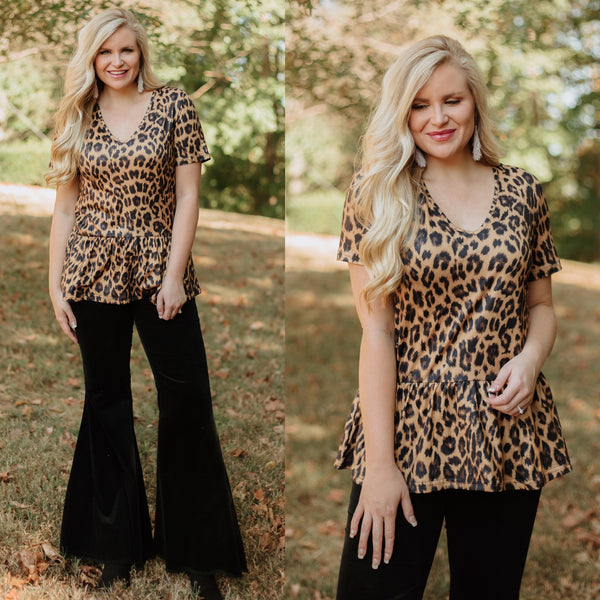 *NEW* Darlin Leopard Peplum Top ~ Leopard