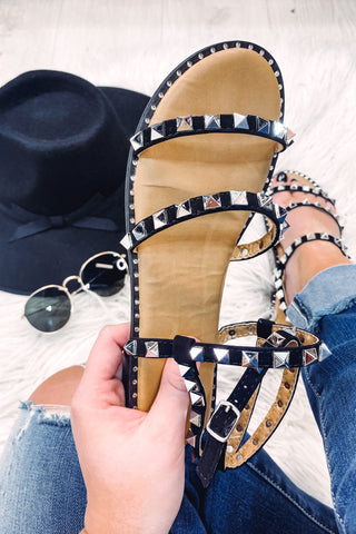 *NEW* Tulla Black Studded Strap Sandal