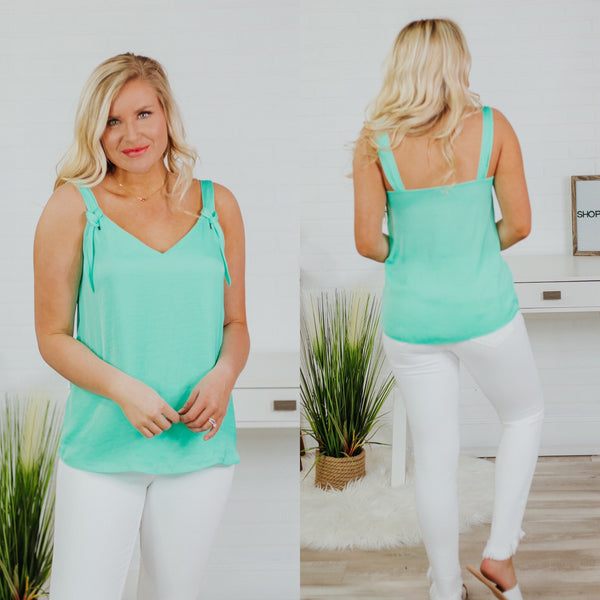 Knotty Strap Front Tank ~ Ice Green