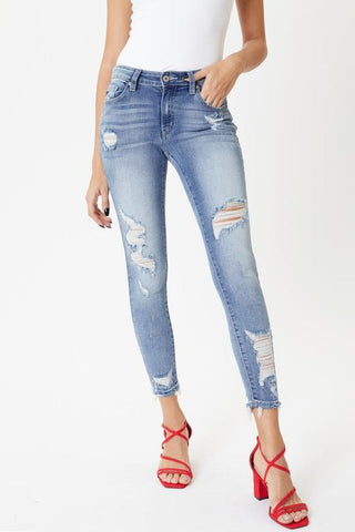 *New* Kancan Eden Mid Rise Distressed Ankle Skinny Jeans