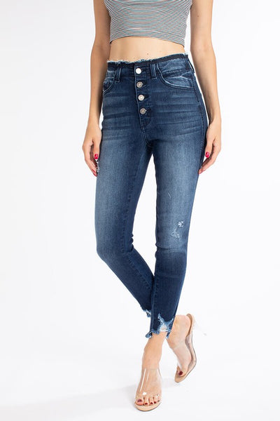 Kancan Floane Button Fly High Rise Ankle Skinny Jeans