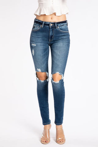 *NEW* Kancan Matilda Distressed Skinny Jeans ~ Dark Wash