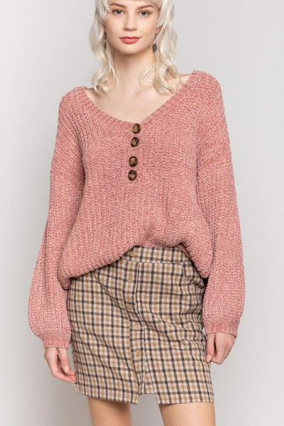 *NEW* POL Evelyn Urban Chenille Knit Sweater ~ Terra Cotta - ShopBeYouBoutique
