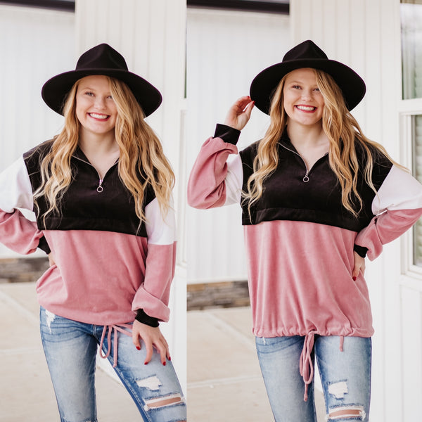 *NEW* Serenity Velvet Color Block Pullover