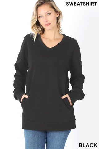 *DOORBUSTER* Holly V Neck Long Sleeve Sweatshirt **BLACK FRIDAY SPECIAL ~ FINAL SALE**