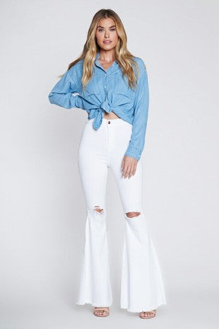 *New* Vibrant Miu Juniper Distressed Flare Denim Jeans ~ White