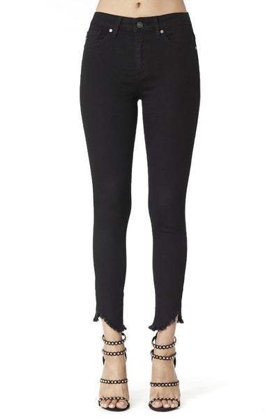 Kancan Reese Raw Hem Ankle Skinny Jeans ~ Black - Be You Boutique
