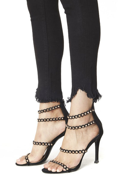 *NEW* Kancan Reese Raw Hem Ankle Skinny Jeans ~ Black - ShopBeYouBoutique