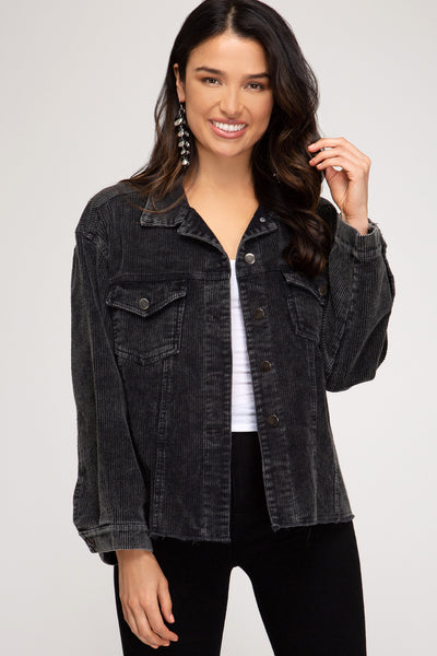 *NEW* Sophia Grace Washed Corduroy Jacket ~ Black - ShopBeYouBoutique
