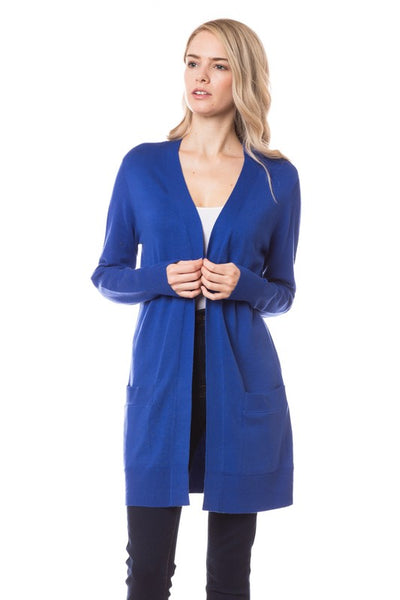*New* Elsie Everyday Long Knit Cardigan with Pockets ~ Royal Blue - Be You Boutique