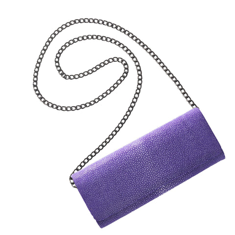 Lara purple stingray clutch