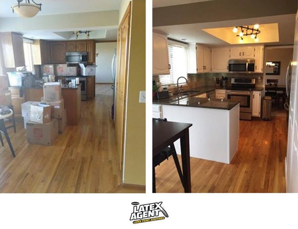 Rachael's kitchen before and after