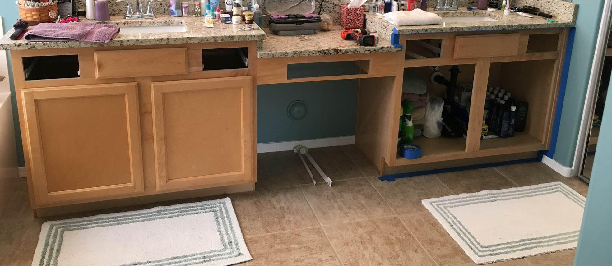Hard Coat and Oil Bond on DIY Bathroom Cabinets
