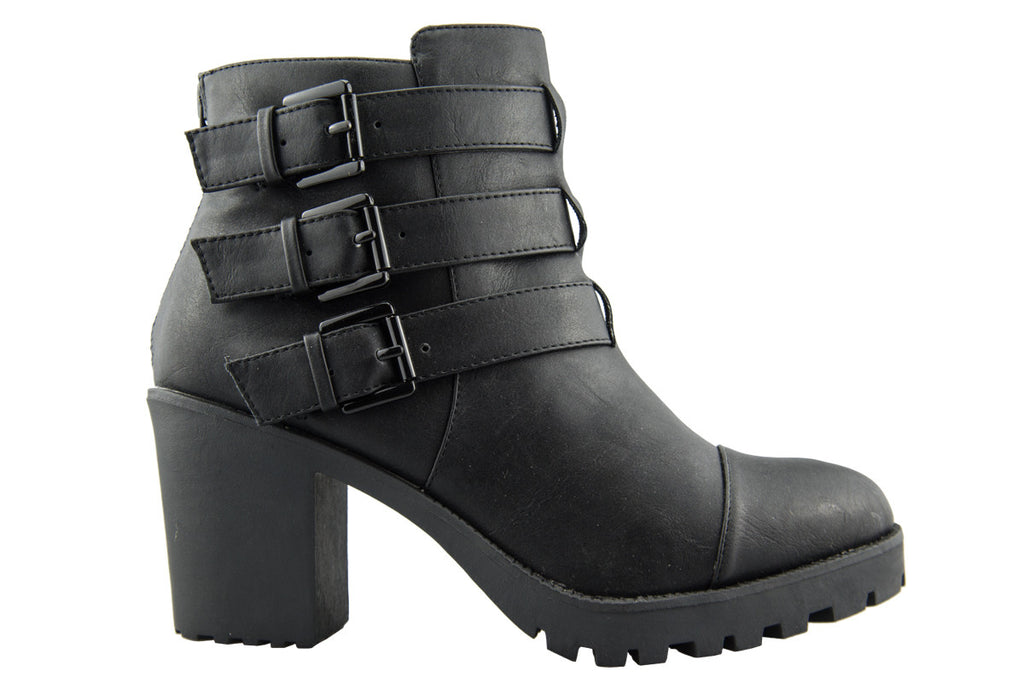Tampa Black Multi Strap Chunky Heeled Ankle Boots