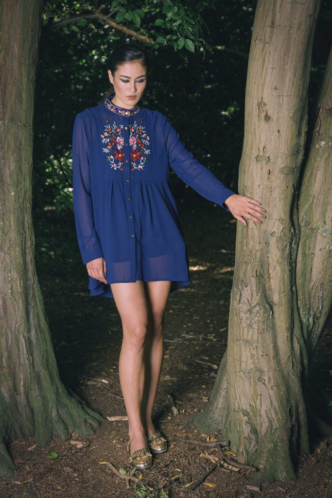Mel Embroidered Navy Blouse