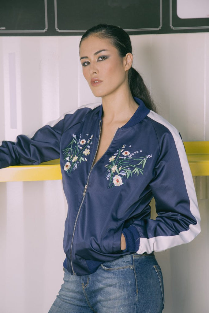 Hallie Heavy Satin Bomber Jacket