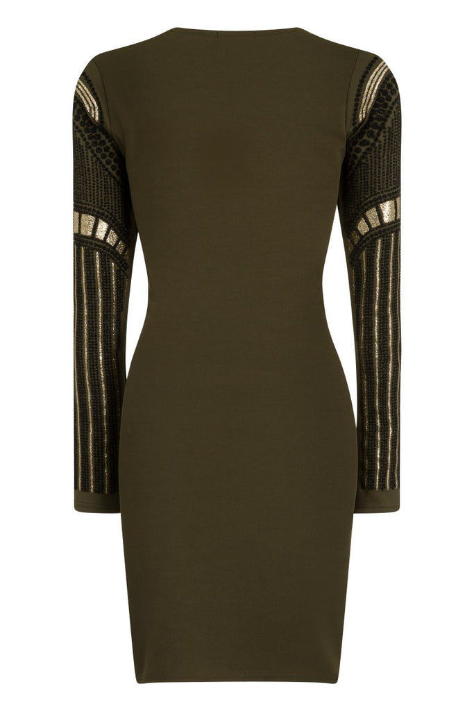 London Rebel | Beetle Khaki Green Bodycon Dress | Back View