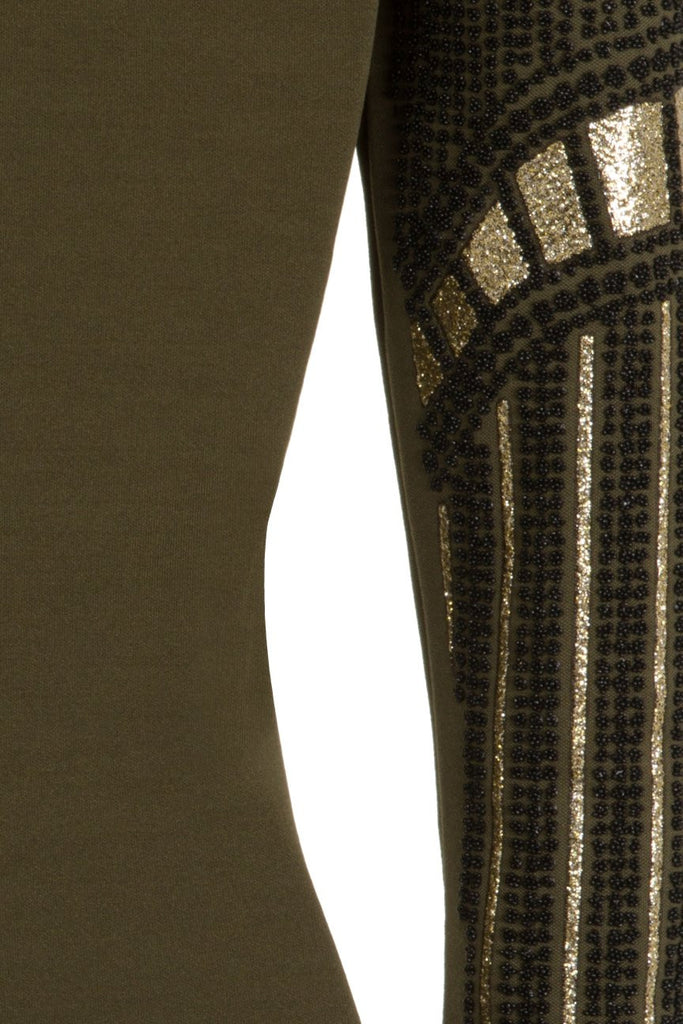 London Rebel | Beetle Khaki Green Bodycon Dress | Back View Close Up