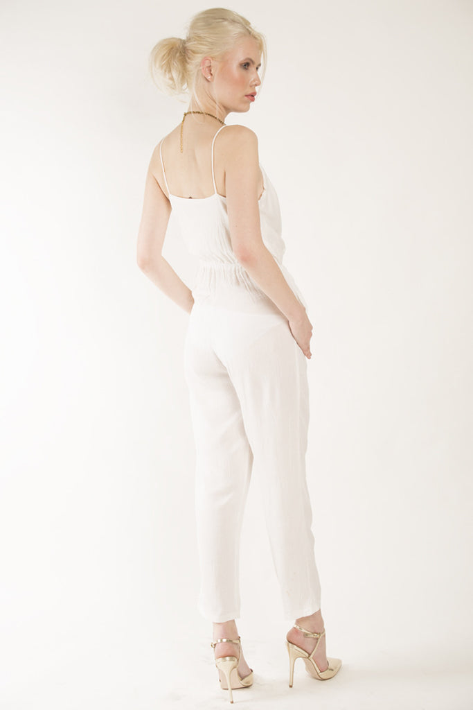 London Rebel | Brandi White Jumpsuit | Lifestyle Image | Back View Three Quarter