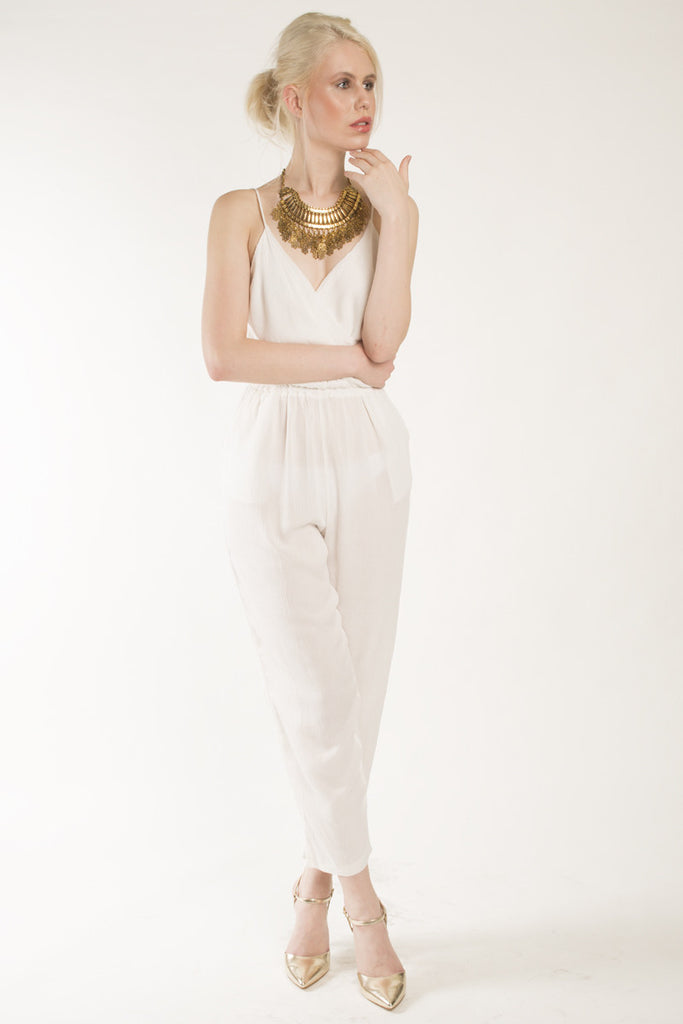 London Rebel | Brandi White Jumpsuit | Lifestyle Image | Front View