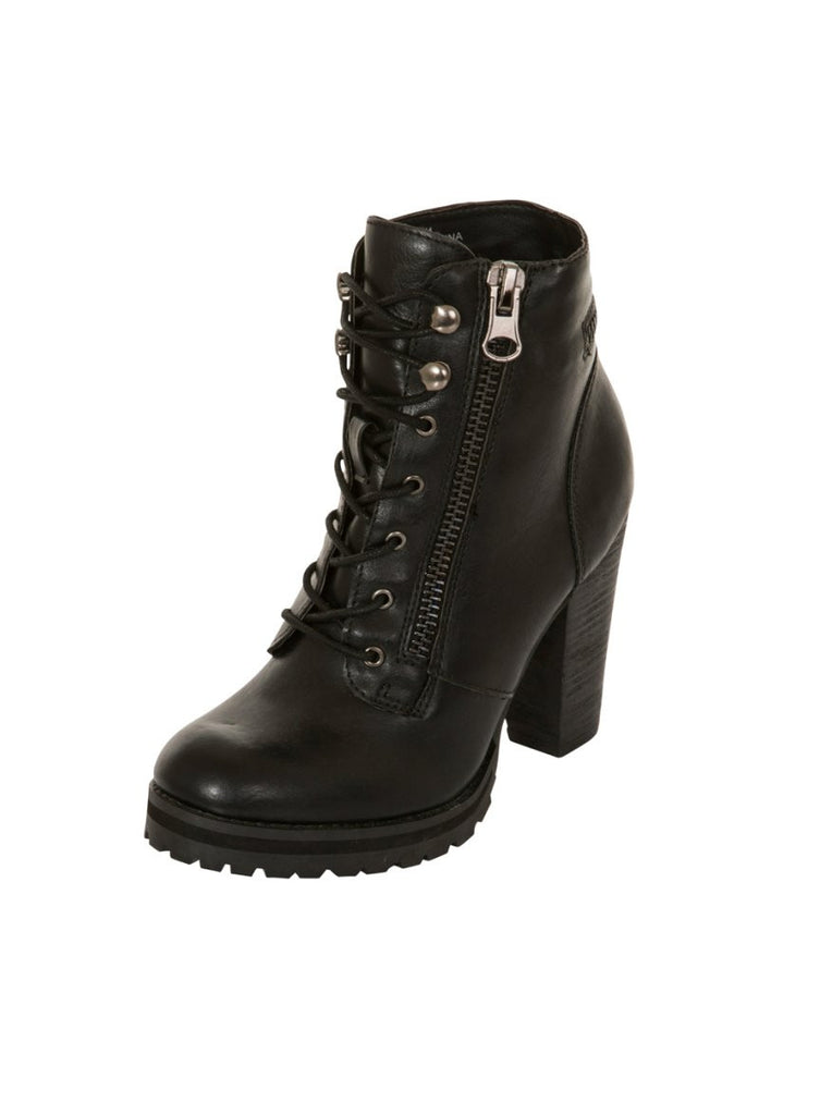 London Rebel | Breanna Lace Up Biker Boot | Front Three Quarter