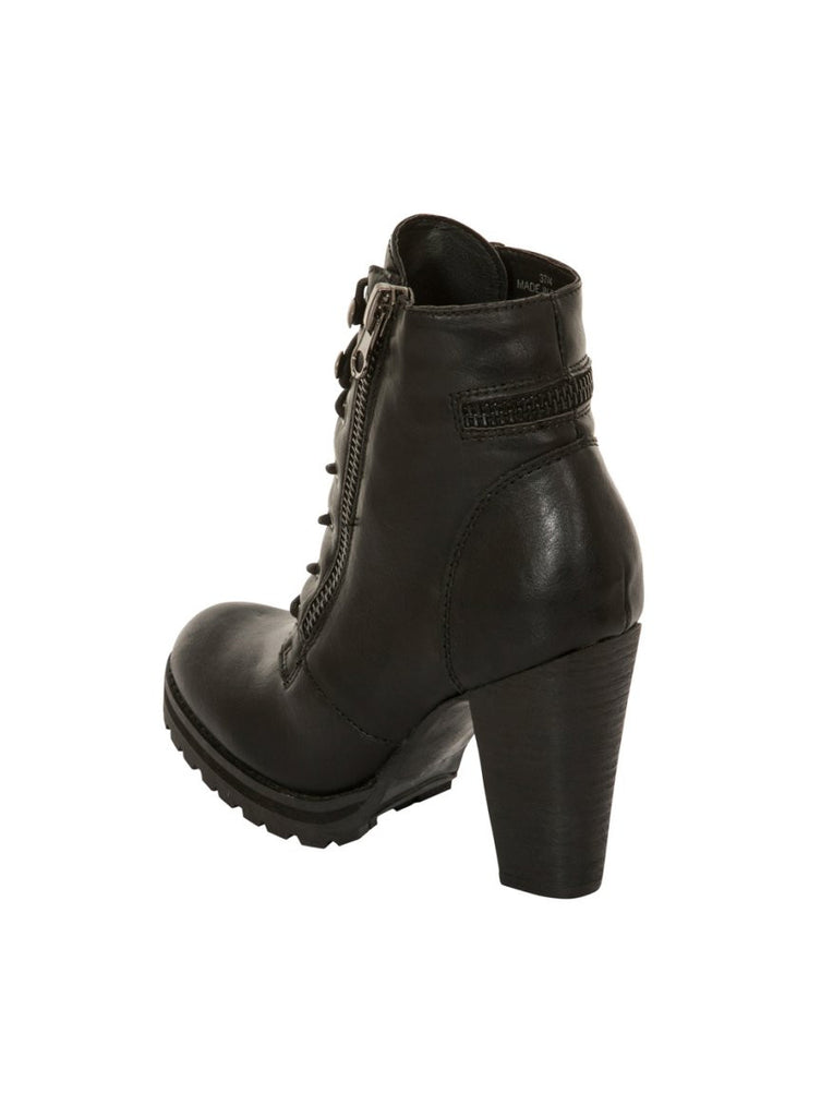 London Rebel | Breanna Lace Up Biker Boot | Back Three Quarter