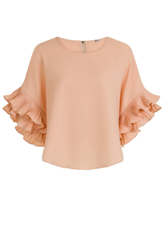 London Rebel | Candy Pale Pink Ruffle Sleeve Blouse | Front View