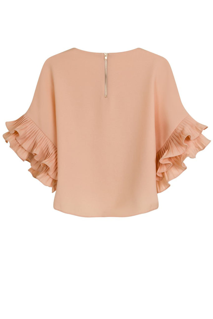 London Rebel | Candy Pale Pink Ruffle Sleeve Blouse | Back View