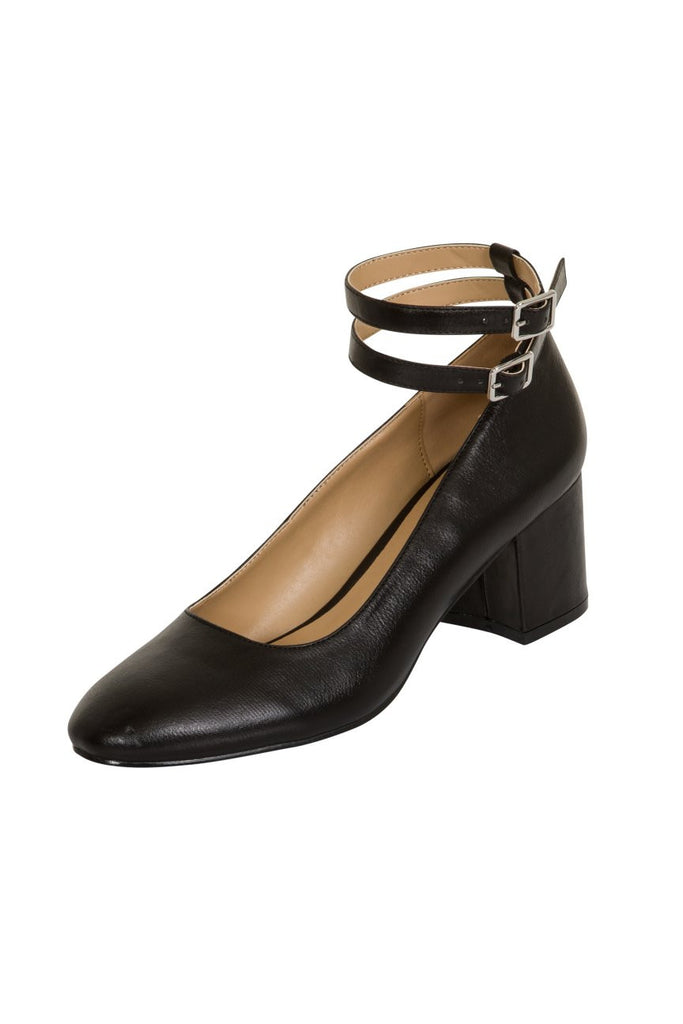 London Rebel | Cara Black Double Ankle Strap Block Heel | Front Three Quarter