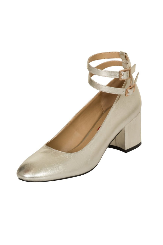 London Rebel | Cara Champagne Gold Double Ankle Strap Block Heel | Front Three Quarter