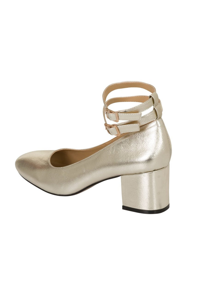 London Rebel | Cara Champagne Gold Double Ankle Strap Block Heel | Back Three Quarter