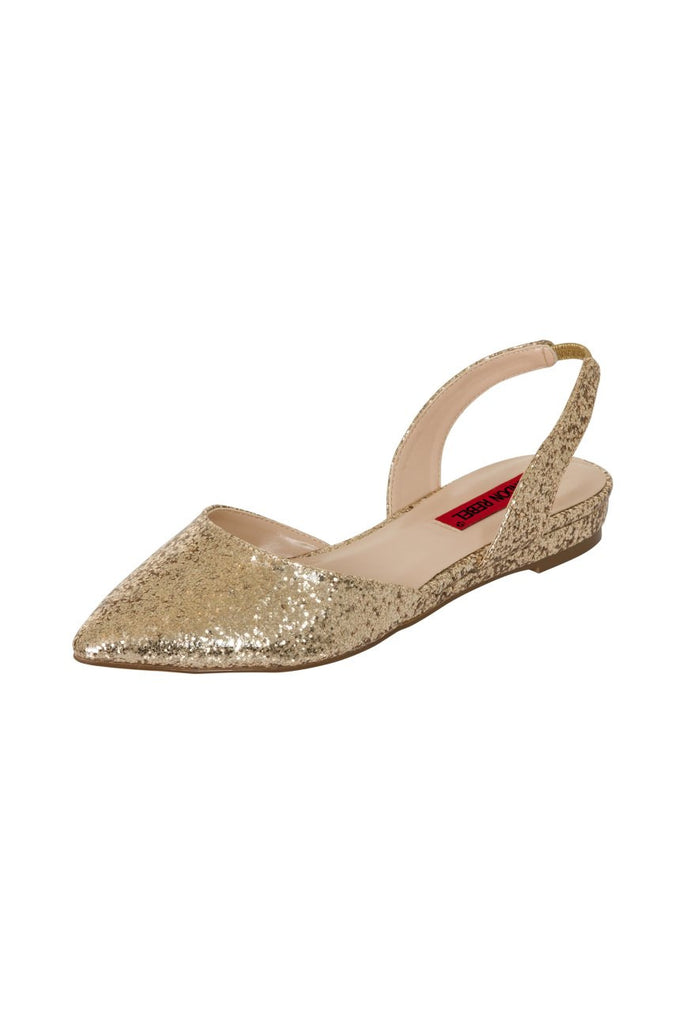 London Rebel | Celina Gold Glitter Flat Sling Back Point Shoe | Front Three Quarter