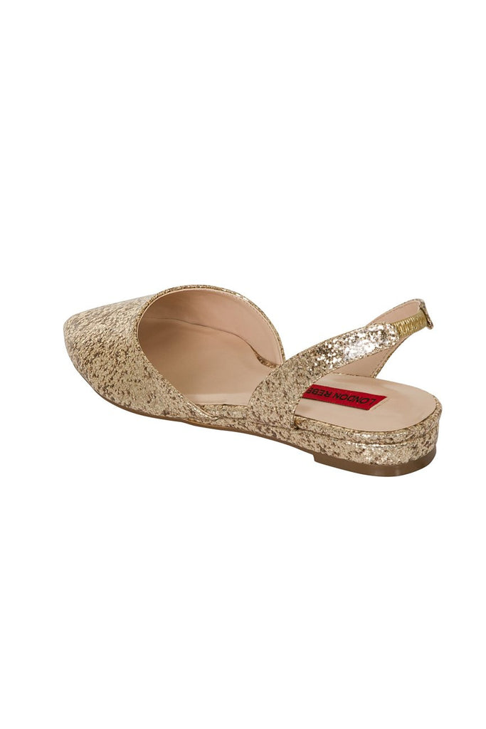 London Rebel | Celina Gold Glitter Flat Sling Back Point Shoe | Back Three Quarter