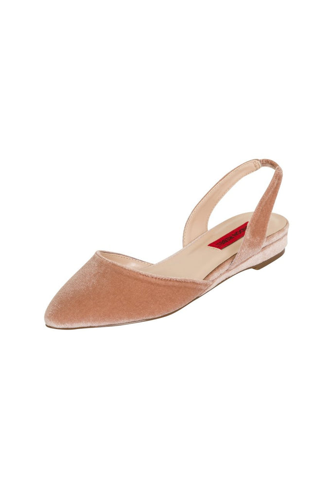 London Rebel | Celina Nude Velvet Flat Sling Back Point Shoe | Front Three Quarter