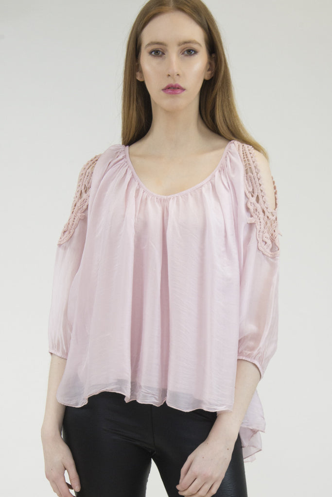 London Rebel | Candice Blush Cold Shoulder Silk Blouse | Lifestyle Image Front View Close Up