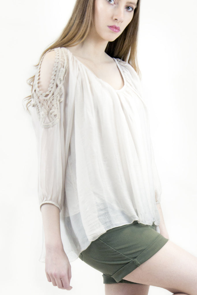 Candice Nude Cold Shoulder Silk Blouse