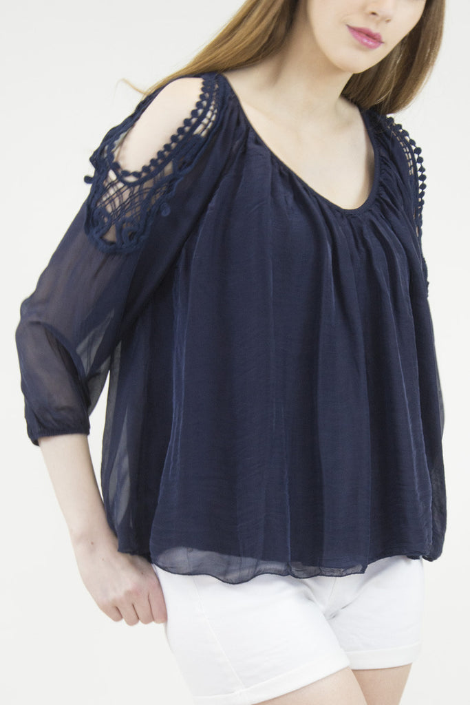 London Rebel | Candice Navy Cold Shoulder Silk Blouse | Lifestyle Image Close Up