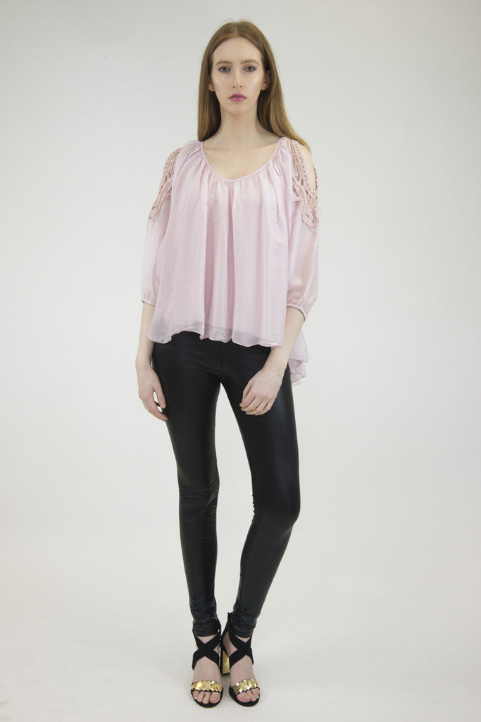 London Rebel | Candice Blush Cold Shoulder Silk Blouse | Lifestyle Image Front View