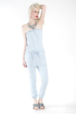 London Rebel | Celia Stone Washed Denim Strapless Jumpsuit | Lifestyle Image Front View