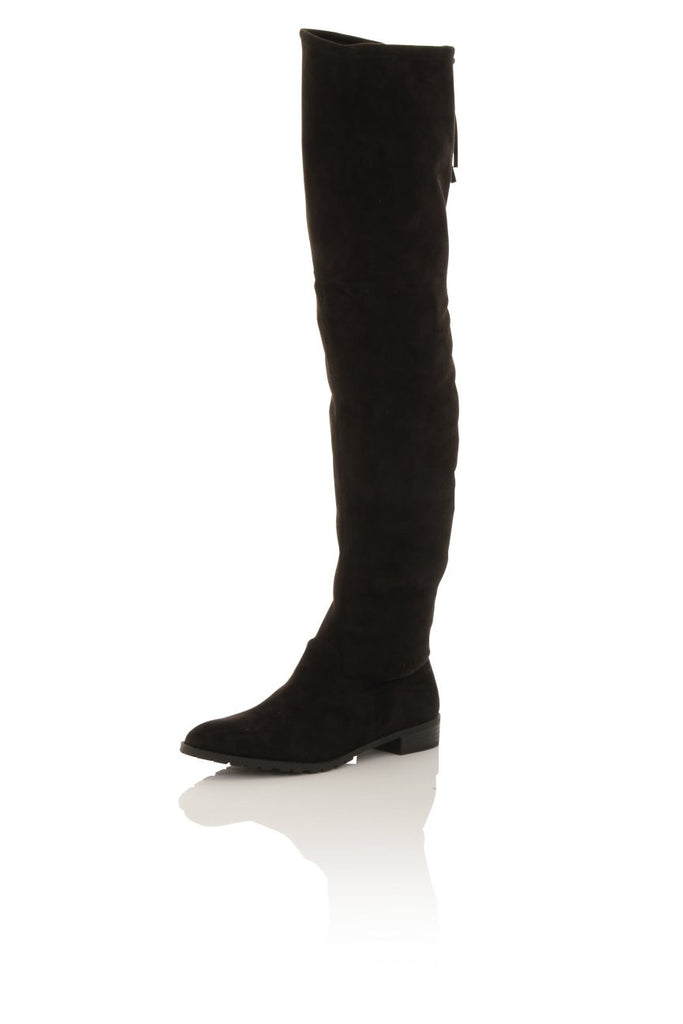 London Rebel | Cherry Thigh High Boots | Front Three Quarter