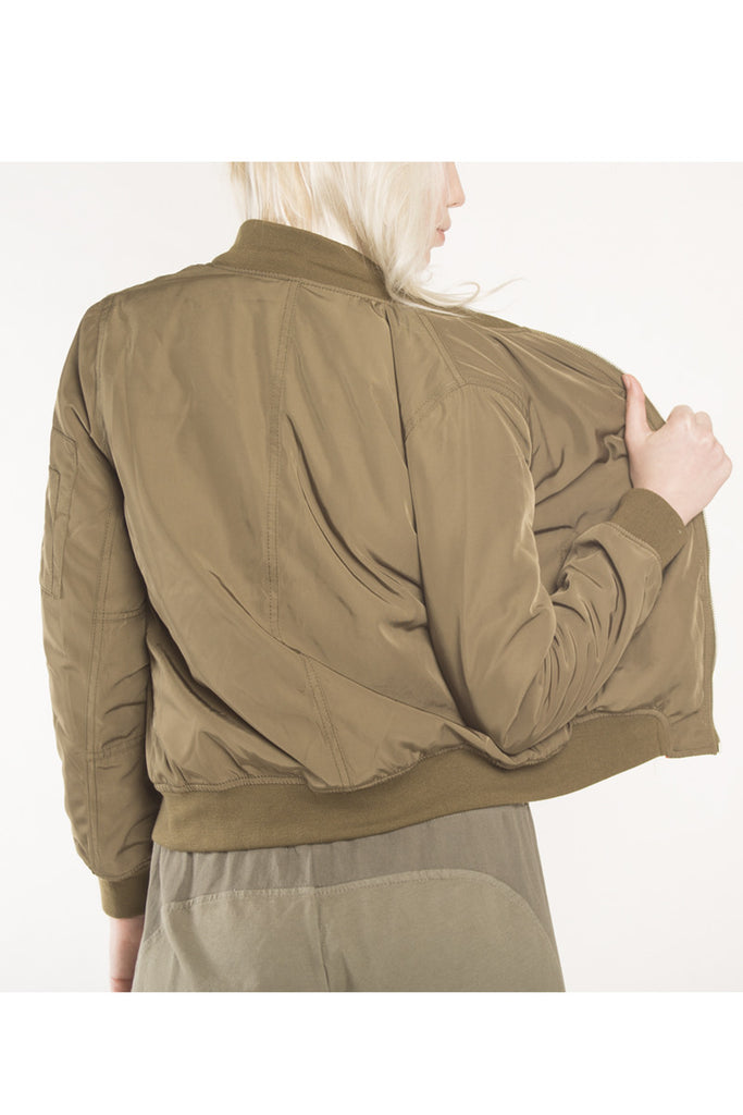 London Rebel | Eve Khaki Green Bomber Jacket | Lifestyle Image Back Close Up