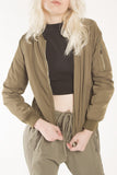 London Rebel | Eve Khaki Green Bomber Jacket | Lifestyle Image Close Up