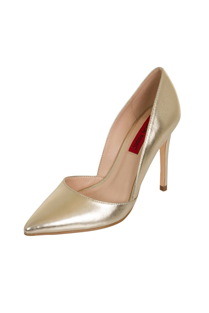 London Rebel | Felicity Champagne Gold Slip On Sharp Point Toe | Front Three Quarter