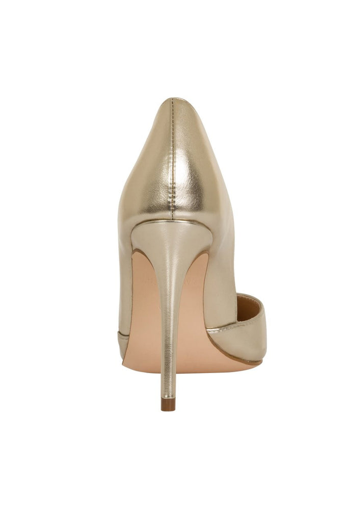London Rebel | Felicity Champagne Gold Slip On Sharp Point Toe | Back View